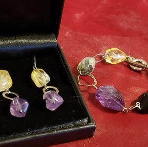 Semi-Precious Bracelet & Earring Sterling Set